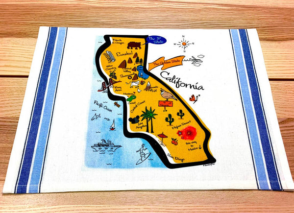 Kitchen Hand Towel California Landmarks