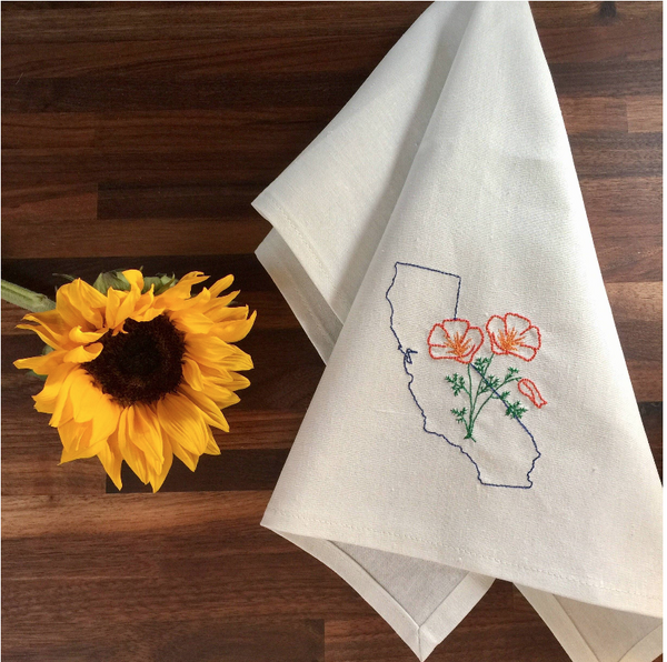 Kitchen Hand Towel w/ Embroidered CA Poppies