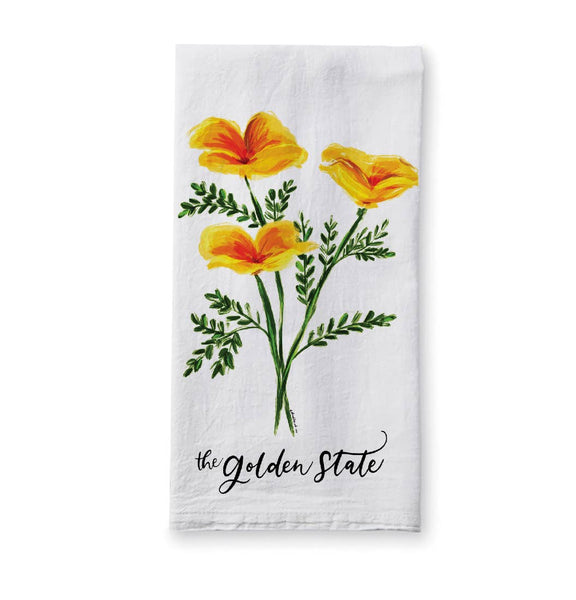 Kitchen Hand Towel Golden State Poppies