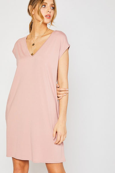 Everyday T-Shirt Dress w/ Pockets Dusty Rose