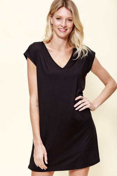 Everyday T-Shirt Dress w/ Pockets Black