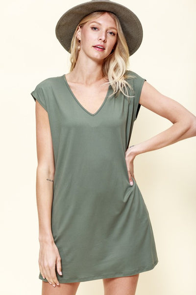 Everyday T-Shirt Dress w/ Pockets Moss