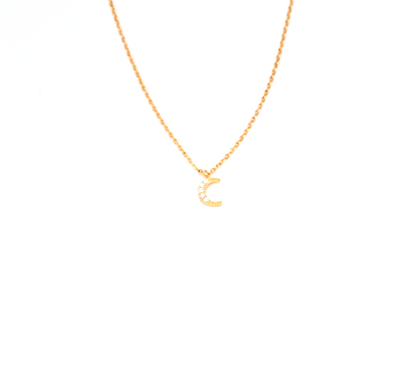 CZ Moon Necklace Gold Fill