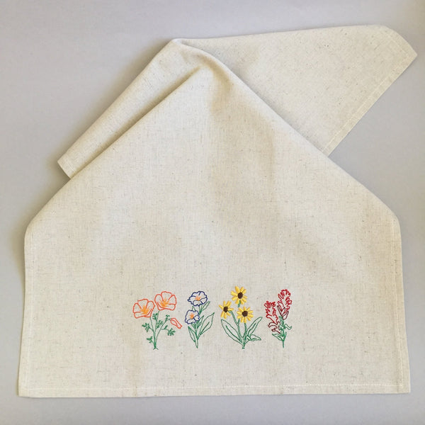 Kitchen Hand Towel w/ Embroidered Sierra Wildflowers