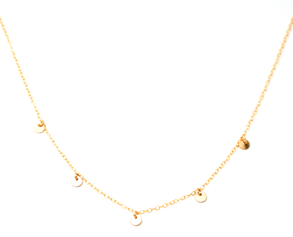 Five Coin Necklace Gold Fill