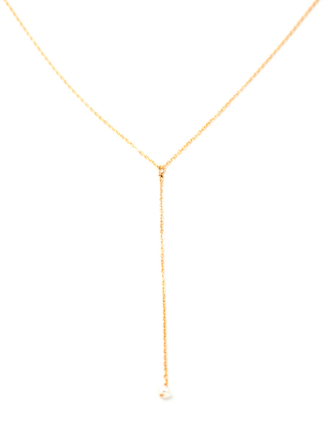 Dainty Pearl Lariat Necklace Gold Fill
