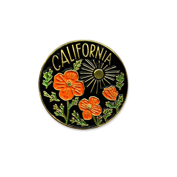 CA and Poppies Pin