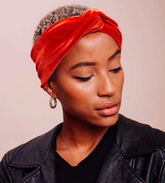 Velvet Sienna Turban - Velvet Burnt Orange