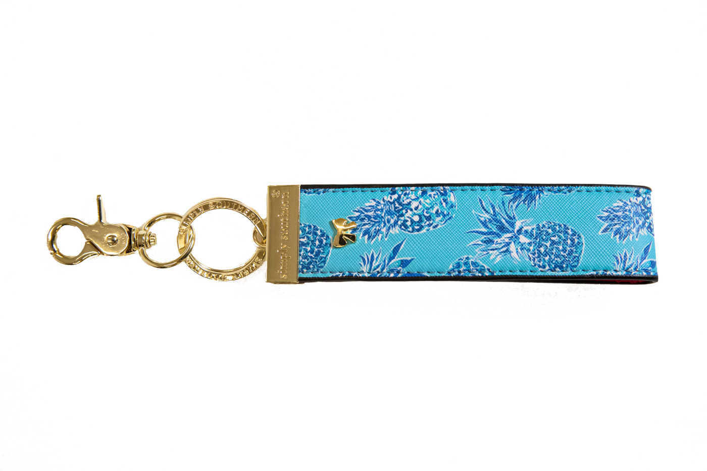 Leather Key Fob - Pineapple Blue
