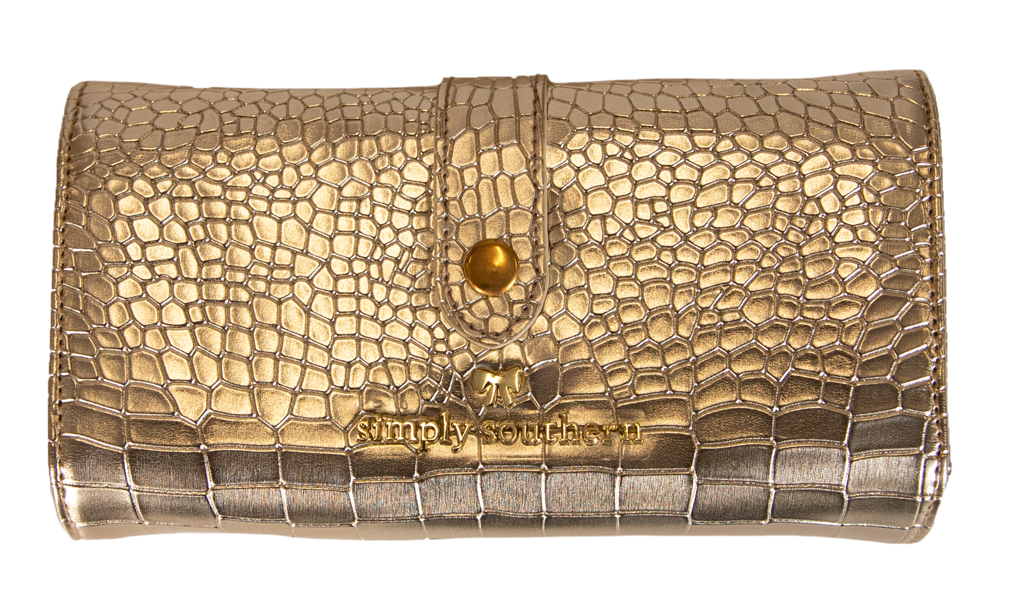 Large Leather Wallet - Gold