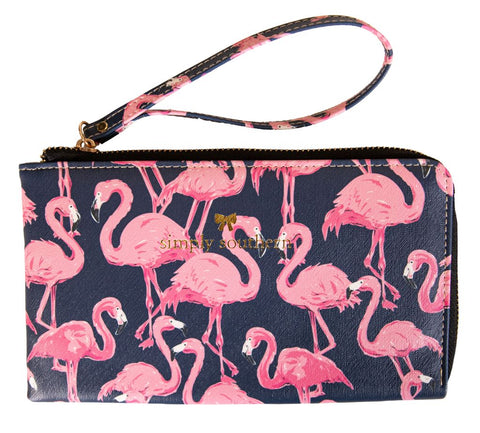 Leather Wristlet - Flamingo