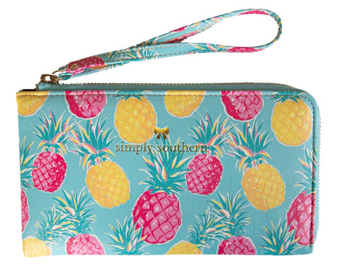 Leather Wristlet - Pineapple