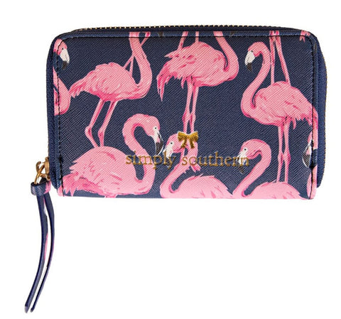 Small Leather Zip Wallet - Flamingo