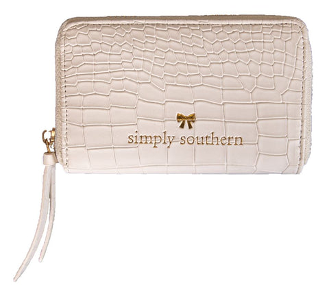 Small Leather Zip Wallet - White