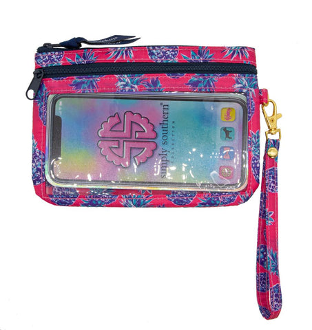 Phone Wristlet - Pineapple Pink & Navy