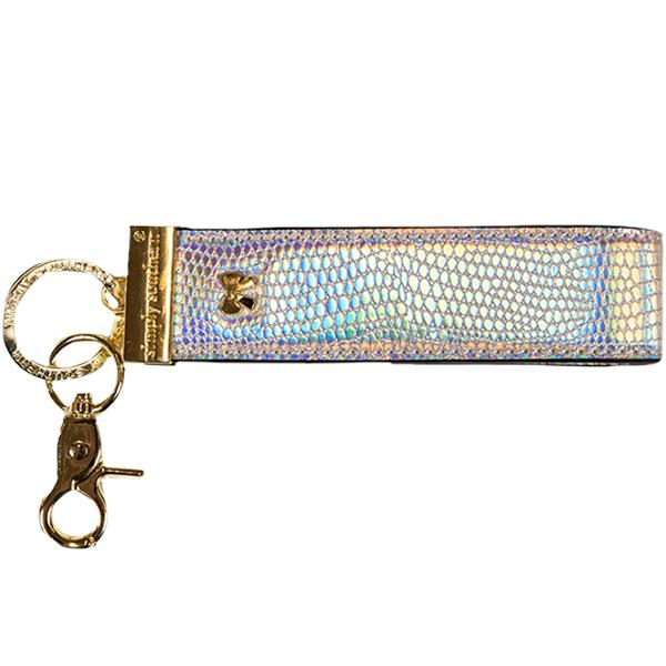 Leather Key Fob - Hologram Silver