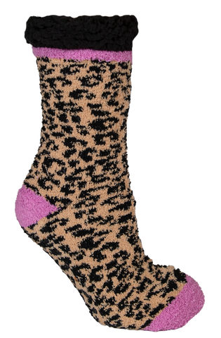 Leopard Brown Camper Socks