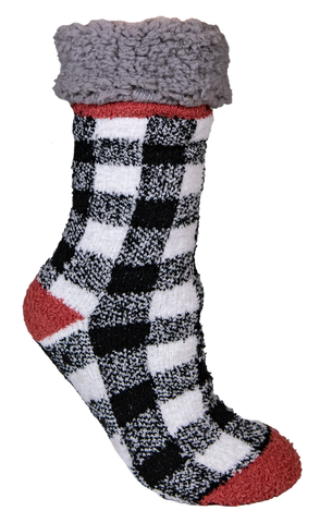Plaid White Camper Socks