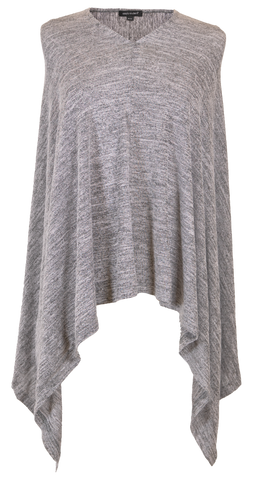 Knit Poncho - Heather Gray
