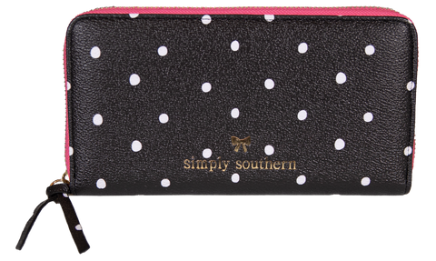 Large Leather Zip Wallet - Dots