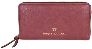 Large Leather Zip Wallet - Maroon