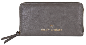 Large Leather Zip Wallet - Stone