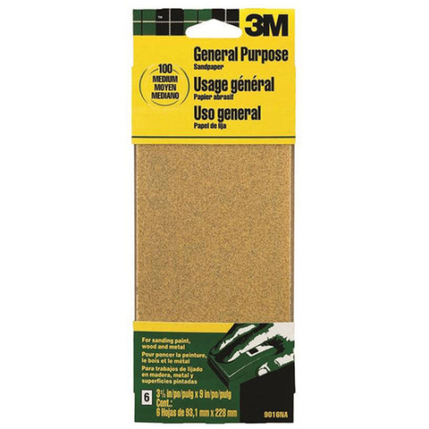 3M 9016 Finishing Sandpaper, 100-Grit Medium