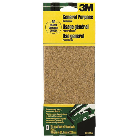 3M 9017 Finishing Sandpaper- 60-Grit Coarse