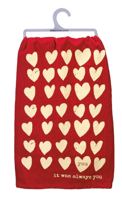 red heart dish towel
