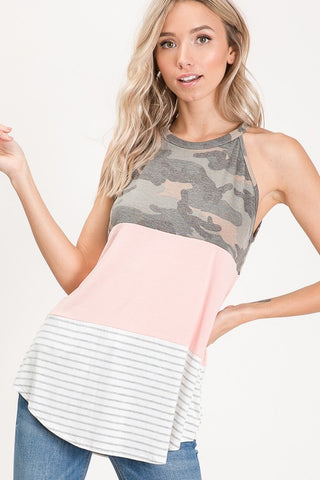 Camo & Blush Halter Top