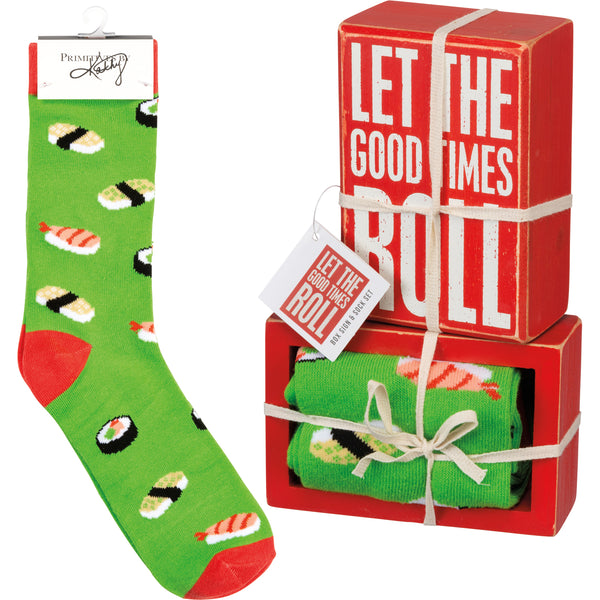 Box Sign & Sock Set - Let The Good Times Roll
