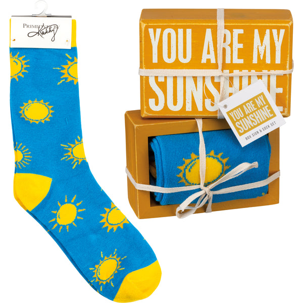 Box Sign & Sock Set - You Are My Sunshine