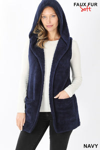 Hooded Faux-Fur Vest - Navy