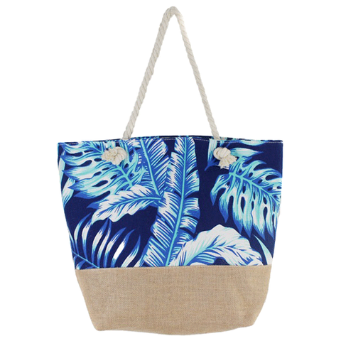 Tropical Leaves Burlap Beach Bag