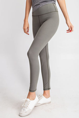 Buttery Soft Full Length Leggings - Gray Sage