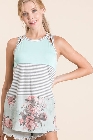 """Like Your Floral"" Mint Tank Top"