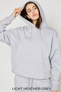 Oversized Relaxed Fleece Hoodie - Light Heather Gray