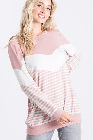Dark Peach Chevron Top