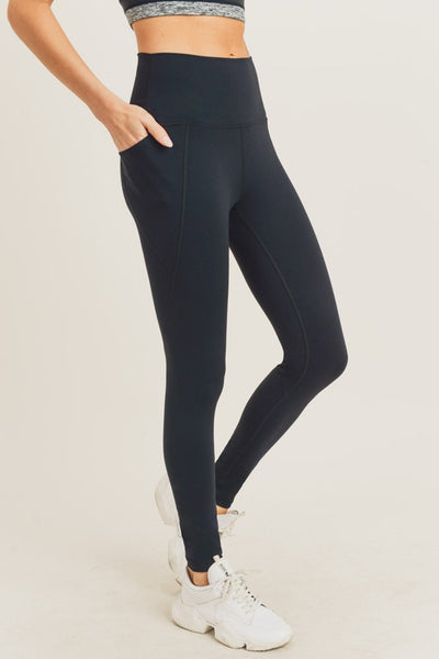 Tapered Band Essential Solid Highwaist Leggings - Black