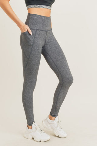 Tapered Band Essential Solid Highwaist Leggings - Grey