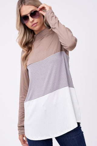 Mock Neck Fabric Mix Tunic Top - Mushroom