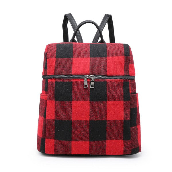 Andy Plaid Backpack - Red