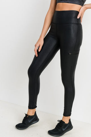 Triple Zippered Pocket Highwaist Foil Leggings - Black