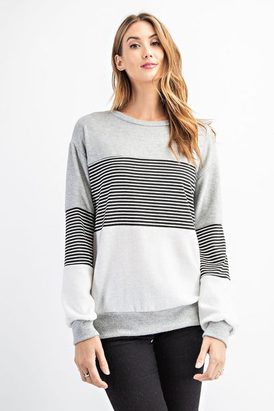 Striped and Solid Hacci Color Block Top