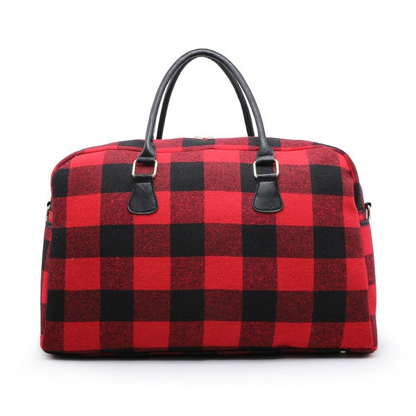 Florence Plaid Duffle - Red
