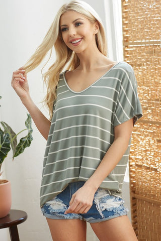 Striped Tee with Lacey Back Detail - Sage