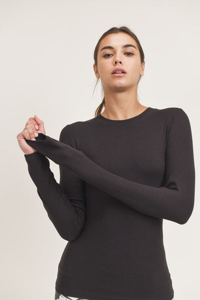 Essential Long-Sleeved Micro-Ribbed Athleisure Top - Black