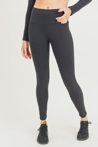 Textured Camo Jacquard TACTEL Highwaist Leggings - Black