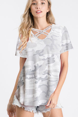 Grey Camo Criss-Cross Short Sleeve Shirt