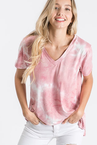Mauve and Ivory Tie Dye Short Sleeve Top